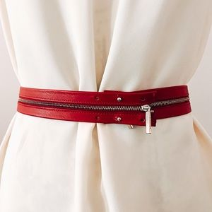 Max Mara Red Zipper Belt
